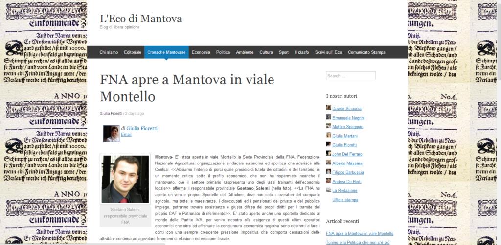 Rassegna Stampa, Apertura FNA Mantova - FNA Provinciale ...